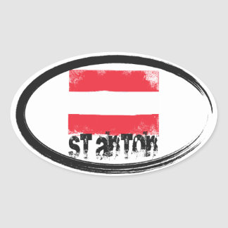 St Anton Grunge Flag Oval Sticker
