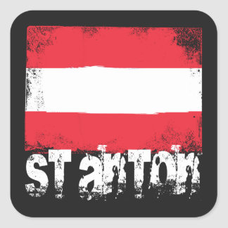 St Anton Grunge Flag Square Sticker