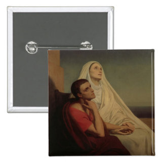 St. Augustine and his mother St. Monica, 1855 15 Cm Square Badge