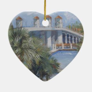 St Augustine Bridge of Lions Ceramic Heart Decoration
