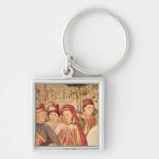 St. Augustine Departing for Milan Silver-Colored Square Key Ring