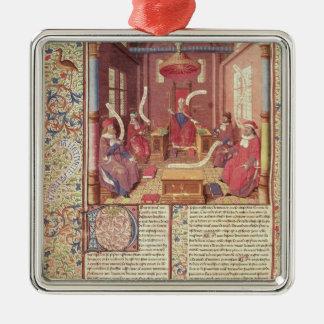 St. Augustine, Epicurus, Zeno, Antiochus & Square Metal Christmas Ornament