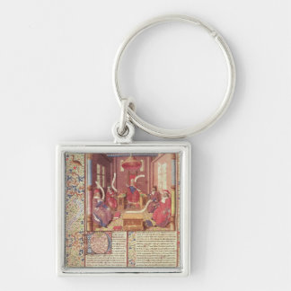 St. Augustine, Epicurus, Zeno, Antiochus & Silver-Colored Square Key Ring