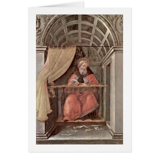 St. Augustine In Exam By Sandro Botticelli Greeting Cards