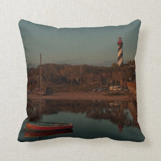 St. Augustine Lighthouse Beach Color & Monochrome Cushion