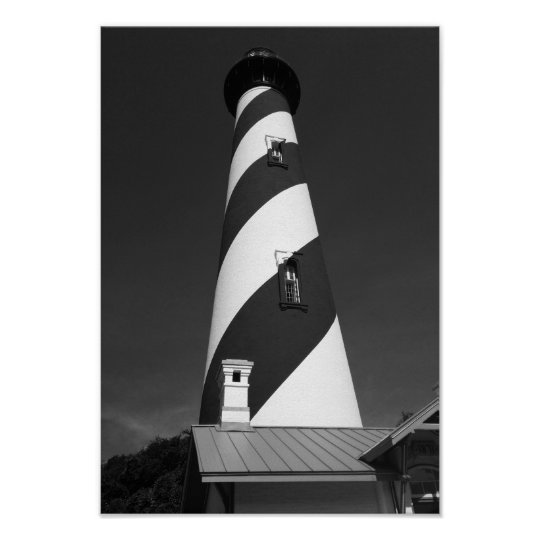 St. Augustine Lighthouse Black And White Photo Poster