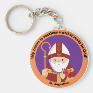 St. Augustine of Hippo Basic Round Button Key Ring