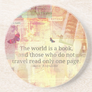 St. Augustine  World is a Book travel quote Coasters
