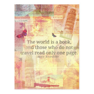 St. Augustine  World is a Book travel quote Postcard
