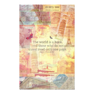 St. Augustine  World is a Book travel quote Stationery