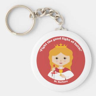 St. Barbara Basic Round Button Key Ring