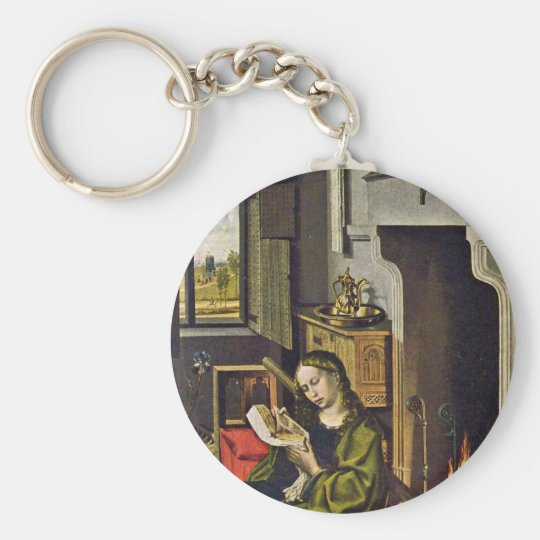 St. Barbara By Campin Robert (Best Quality) Basic Round Button Key Ring