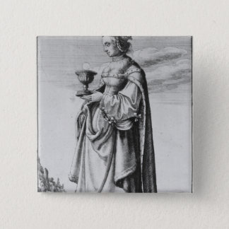 St. Barbara, etched by Wenceslaus Hollar, 1647 15 Cm Square Badge