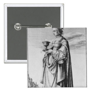 St Barbara etched by Wenceslaus Hollar 1647 Pinback Button