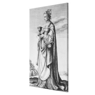 St. Barbara, etched by Wenceslaus Hollar, 1647 Gallery Wrapped Canvas