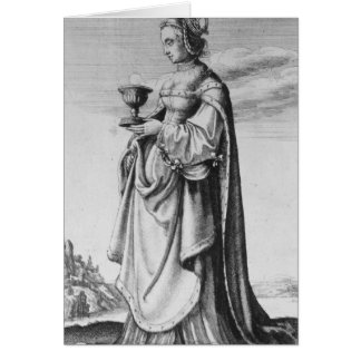 St. Barbara, etched by Wenceslaus Hollar, 1647 Greeting Card