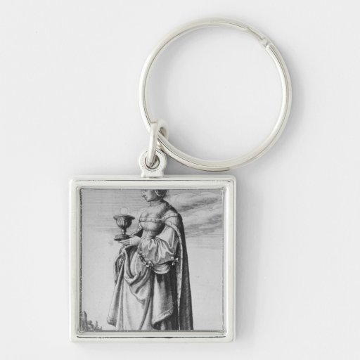 St. Barbara, etched by Wenceslaus Hollar, 1647 Keychains