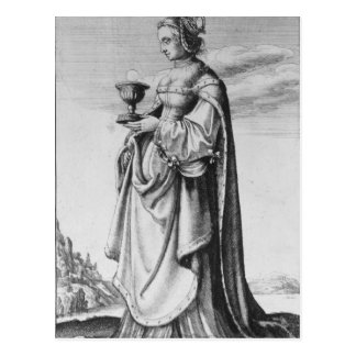 St. Barbara, etched by Wenceslaus Hollar, 1647 Postcard