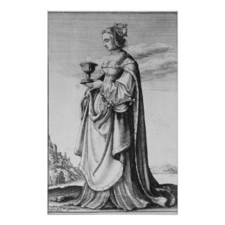 St Barbara etched by Wenceslaus Hollar 1647 Posters