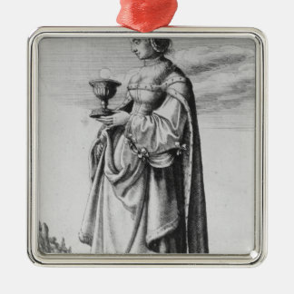 St. Barbara, etched by Wenceslaus Hollar, 1647 Silver-Colored Square Decoration