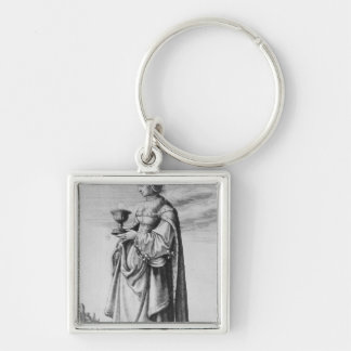 St. Barbara, etched by Wenceslaus Hollar, 1647 Silver-Colored Square Key Ring