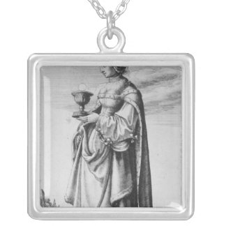 St. Barbara, etched by Wenceslaus Hollar, 1647 Silver Plated Necklace