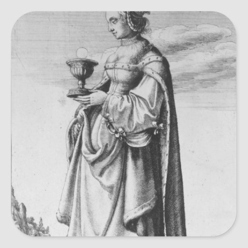 St. Barbara, etched by Wenceslaus Hollar, 1647 Square Sticker