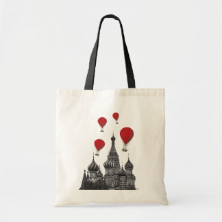 St Basil's Cathedral and Red Hot Air Balloons Tote Bag