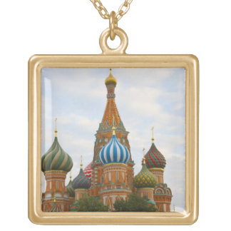St. Basil's Cathedral in Red Square, Moscow Gold Plated Necklace