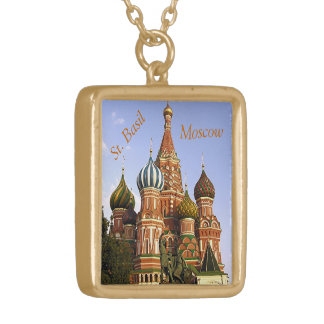 """ST. BASIL'S COLORFUL ONION DOMES"" SQUARE PENDANT NECKLACE"