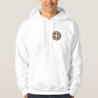 St. Benedict Medal on White Hooded Sweatshirt