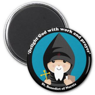 St Benedict of Nursia 6 Cm Round Magnet