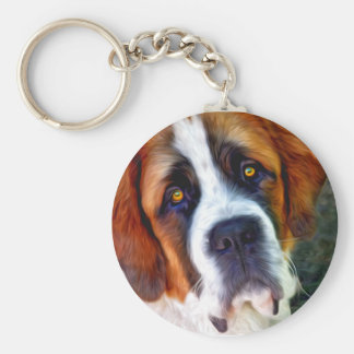 St Bernard Dog Painting Basic Round Button Key Ring