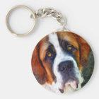 St Bernard Dog Painting Key Ring