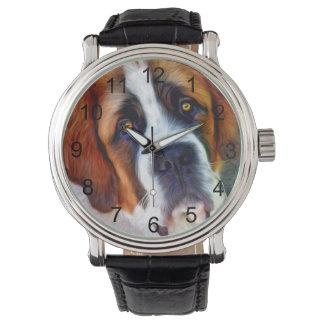 St Bernard Dog Painting Watch