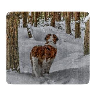 St Bernard dog photograph in the snow Cutting Board