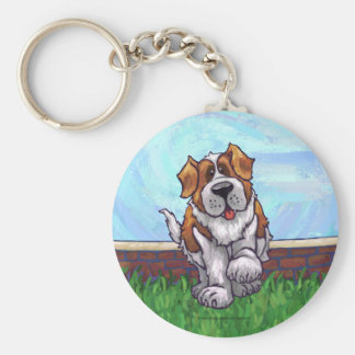 St. Bernard Gifts & Accessories Basic Round Button Key Ring