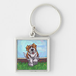 St. Bernard Gifts & Accessories Silver-Colored Square Key Ring