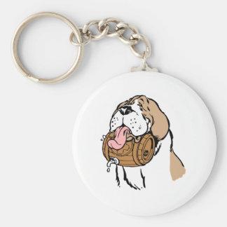 St. Bernard Keg Dog Basic Round Button Key Ring