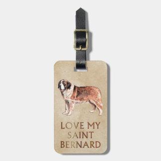 st bernard love luggage tag