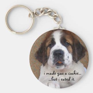 St Bernard Puppy Cookie Basic Round Button Key Ring