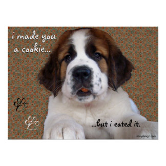 St Bernard Puppy Cookie Poster