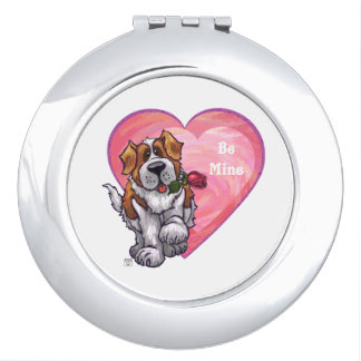 St. Bernard Valentine's Day Compact Mirrors
