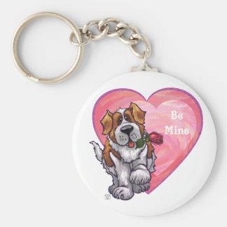 St. Bernard Valentine's Day Basic Round Button Key Ring