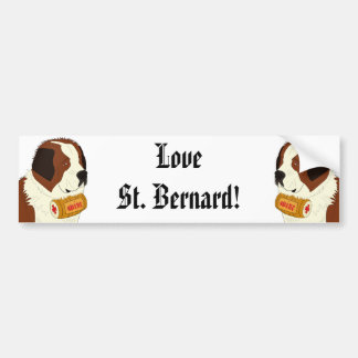 St. Bernard with a Small Wine Barrel - Line Art Bumper Sticker