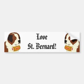 St. Bernard with a Small Wine Barrel - Line Art Bumper Sticker