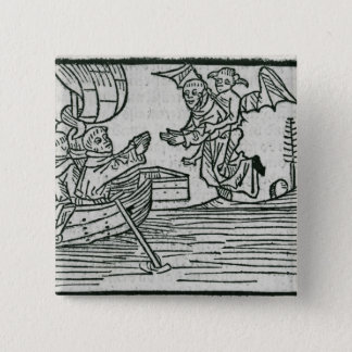 St. Brendan and the demon 15 Cm Square Badge