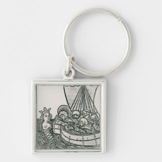 St. Brendan and the Siren Silver-Colored Square Key Ring