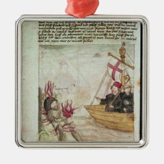 St. Brendan in his ship Christmas Ornament