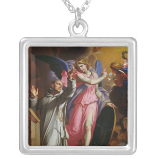 St. Bruno at Prayer, 1671 Silver Plated Necklace
